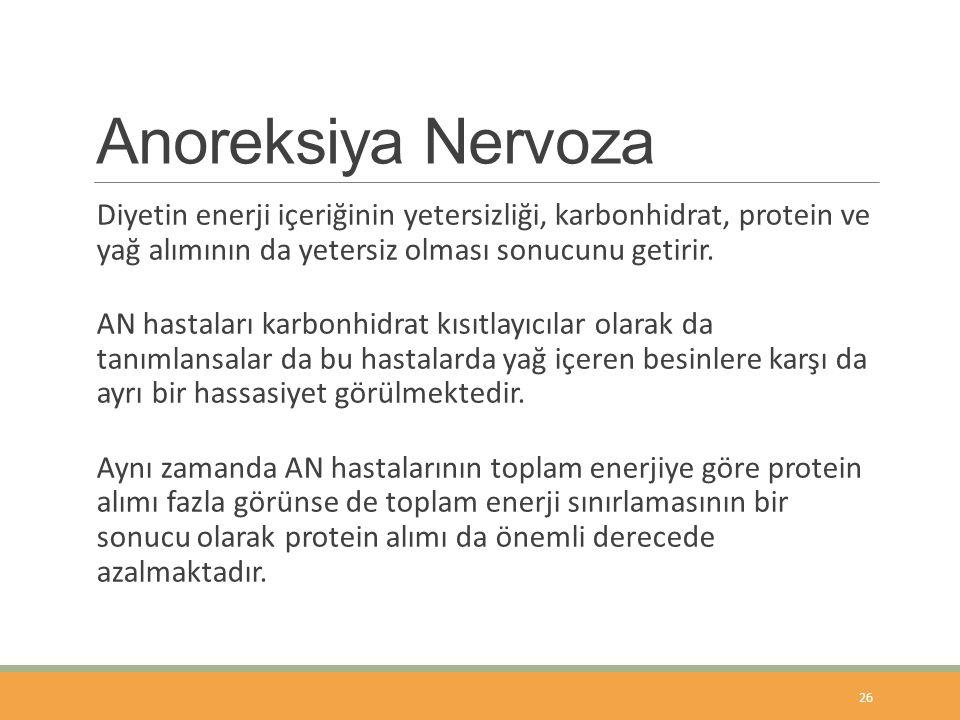 Anoreksiya Nervoza Diyetin enerji içeriğinin yetersizliği, karbonhidrat, protein ve yağ alımının da yetersiz olması sonucunu getirir.