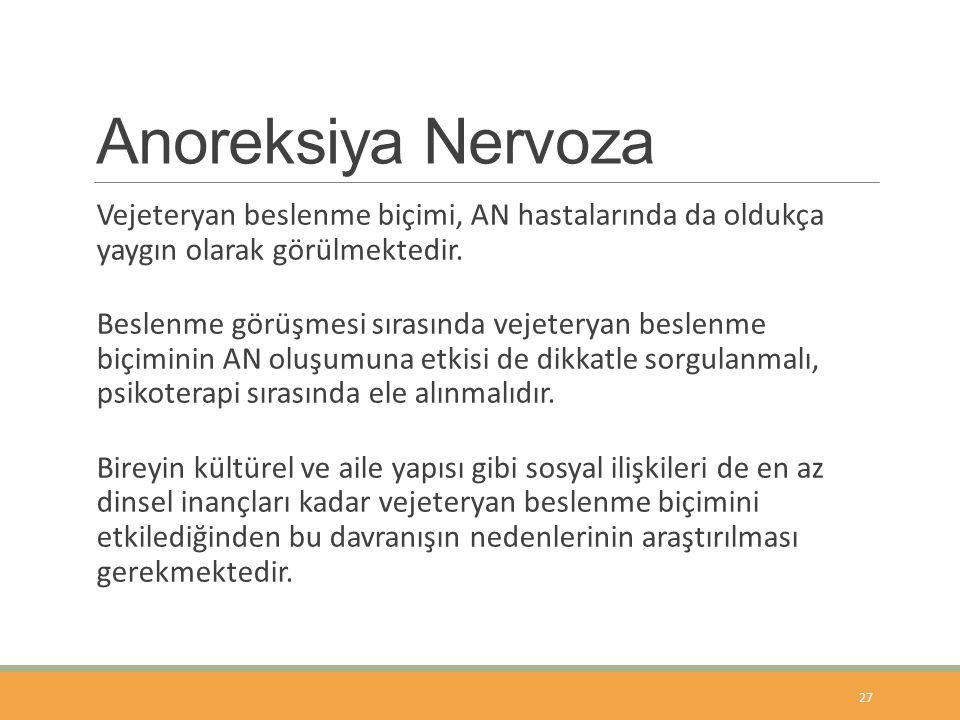 Anoreksiya Nervoza Vejeteryan beslenme biçimi, AN hastalarında da oldukça yaygın olarak görülmektedir.