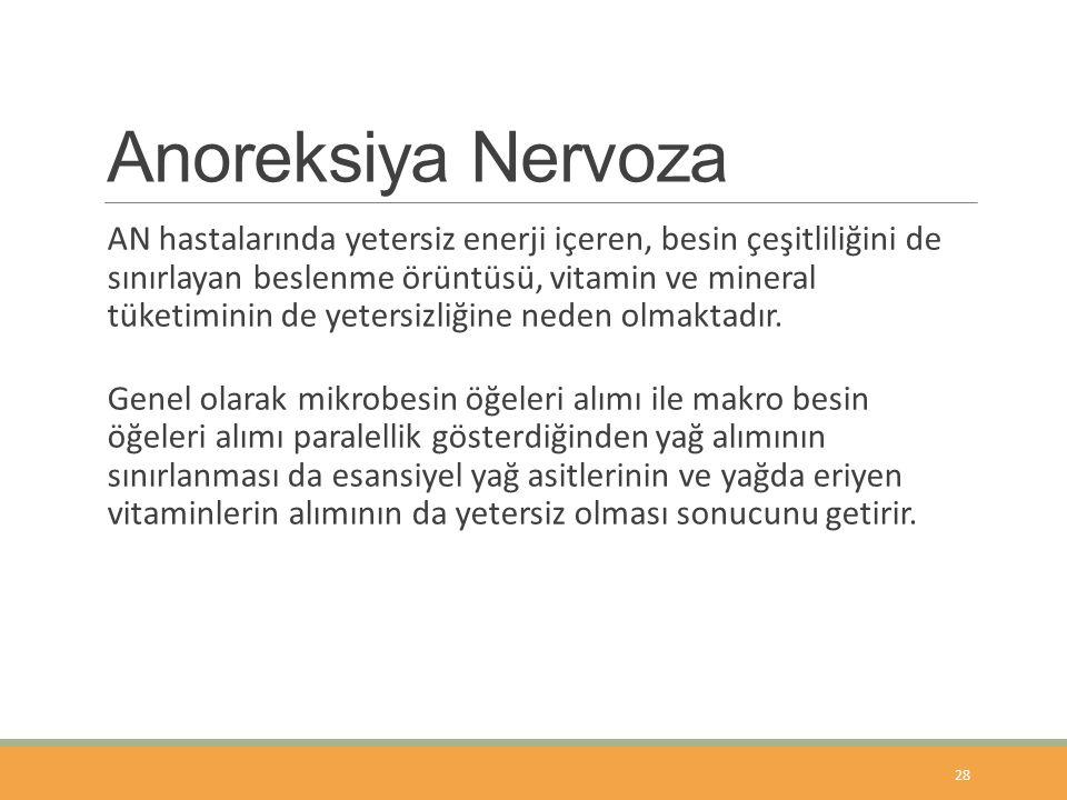 Anoreksiya Nervoza AN hastalarında yetersiz enerji içeren, besin çeşitliliğini de sınırlayan beslenme örüntüsü, vitamin ve mineral tüketiminin de yetersizliğine neden olmaktadır.