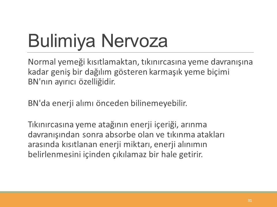 Bulimiya Nervoza Normal yemeği kısıtlamaktan, tıkınırcasına yeme davranışına kadar geniş bir dağılım gösteren karmaşık yeme biçimi BN nın ayırıcı özelliğidir.