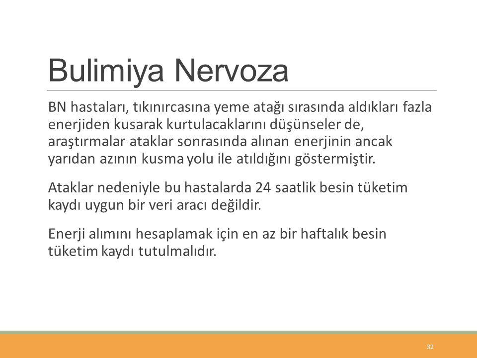 Bulimiya Nervoza BN hastaları, tıkınırcasına yeme atağı sırasında aldıkları fazla enerjiden kusarak kurtulacaklarını düşünseler de, araştırmalar ataklar sonrasında alınan enerjinin ancak yarıdan azının kusma yolu ile atıldığını göstermiştir.