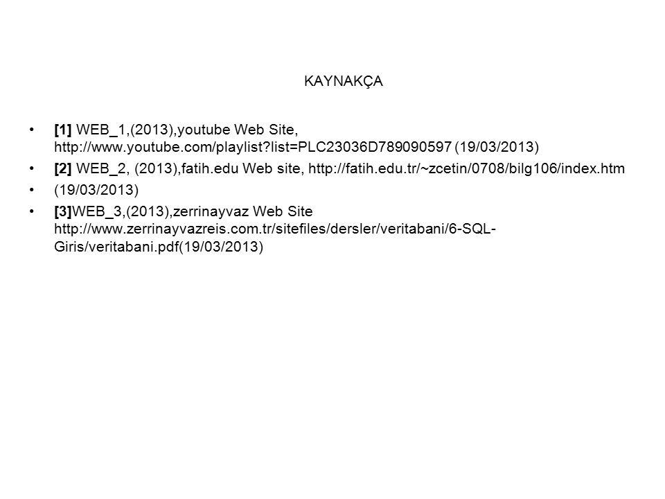 KAYNAKÇA [1] WEB_1,(2013),youtube Web Site, http://www.youtube.com/playlist list=PLC23036D789090597 (19/03/2013) [2] WEB_2, (2013),fatih.edu Web site, http://fatih.edu.tr/~zcetin/0708/bilg106/index.htm (19/03/2013) [3]WEB_3,(2013),zerrinayvaz Web Site http://www.zerrinayvazreis.com.tr/sitefiles/dersler/veritabani/6-SQL- Giris/veritabani.pdf(19/03/2013)
