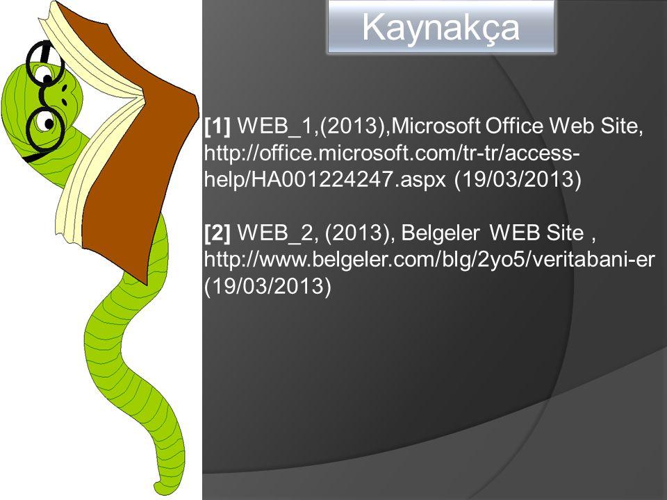 Kaynakça [1] WEB_1,(2013),Microsoft Office Web Site, http://office.microsoft.com/tr-tr/access- help/HA001224247.aspx (19/03/2013) [2] WEB_2, (2013), Belgeler WEB Site, http://www.belgeler.com/blg/2yo5/veritabani-er (19/03/2013)