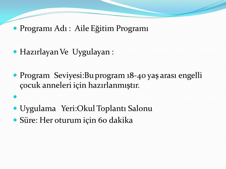 Programı Adı : Aile Eğitim Programı Hazırlayan Ve Uygulayan : Program Seviyesi:Bu program 18-40 yaş arası engelli çocuk anneleri için hazırlanmıştır.