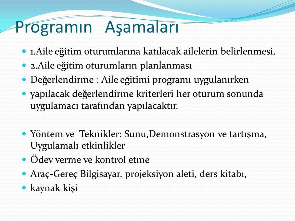 Programın Aşamaları 1.Aile eğitim oturumlarına katılacak ailelerin belirlenmesi.
