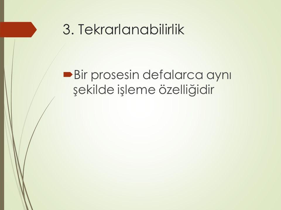3. Tekrarlanabilirlik  Bir prosesin defalarca aynı şekilde işleme özelliğidir