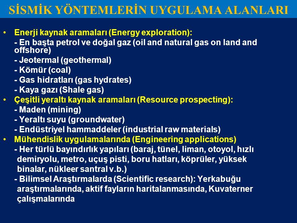 SİSMİK YÖNTEMLERİN UYGULAMA ALANLARI Enerji kaynak aramaları (Energy exploration): - En başta petrol ve doğal gaz (oil and natural gas on land and off