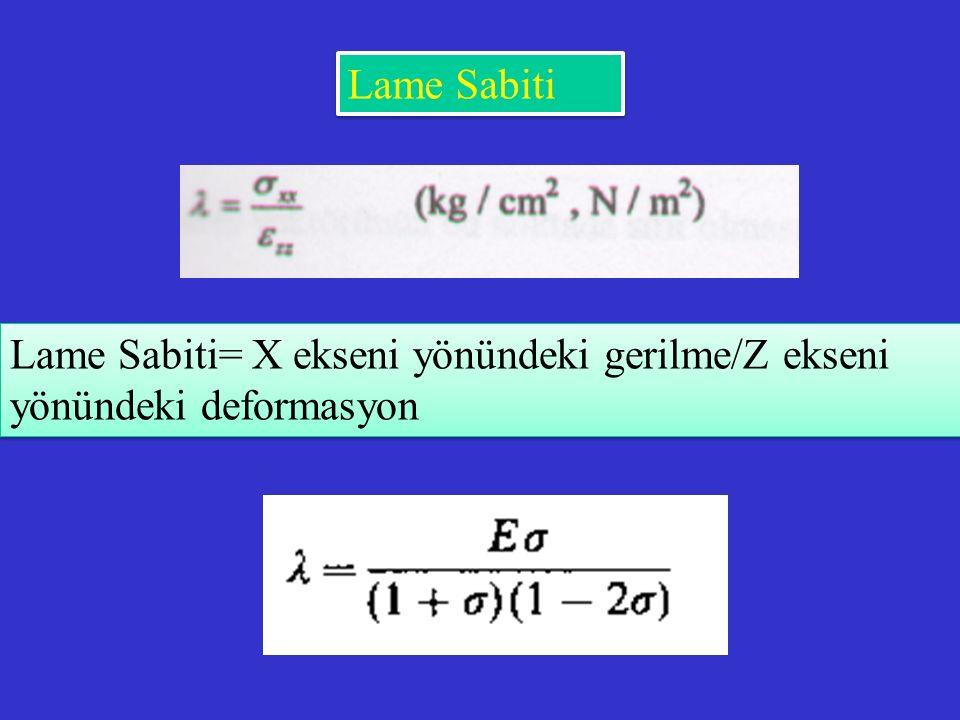 Lame Sabiti Lame Sabiti= X ekseni yönündeki gerilme/Z ekseni yönündeki deformasyon
