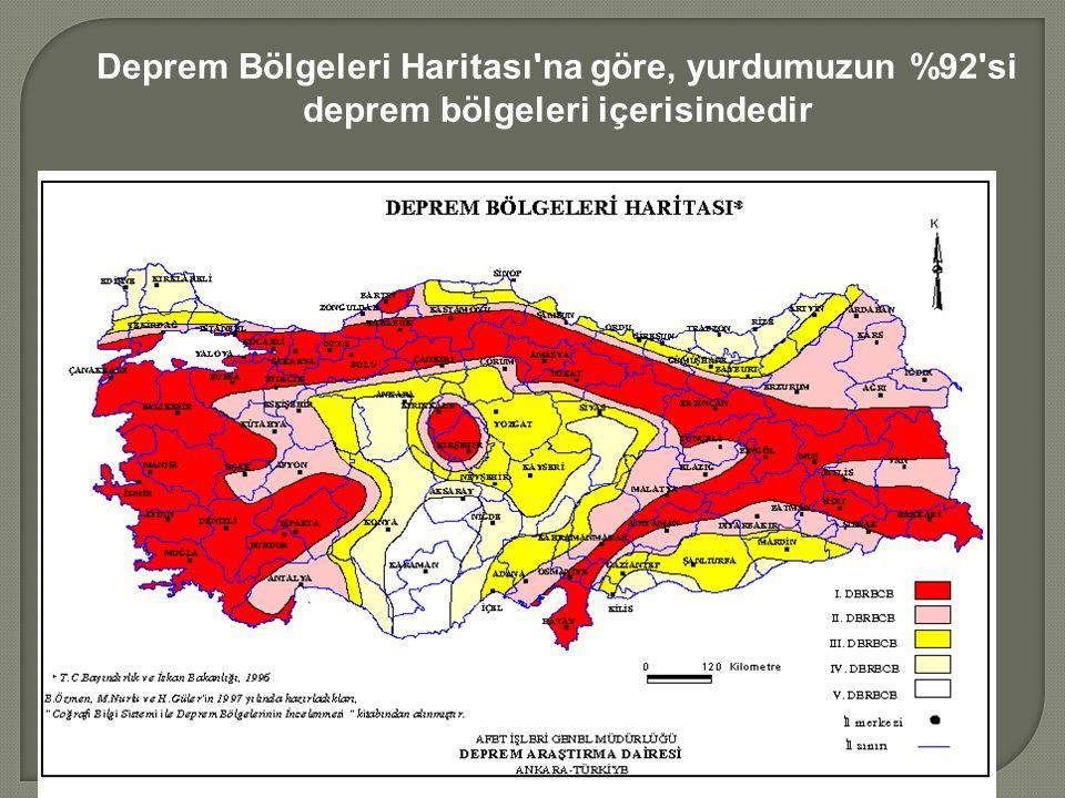 Deprem Bölgeleri Haritası na göre, yurdumuzun %92 si deprem bölgeleri içerisindedir