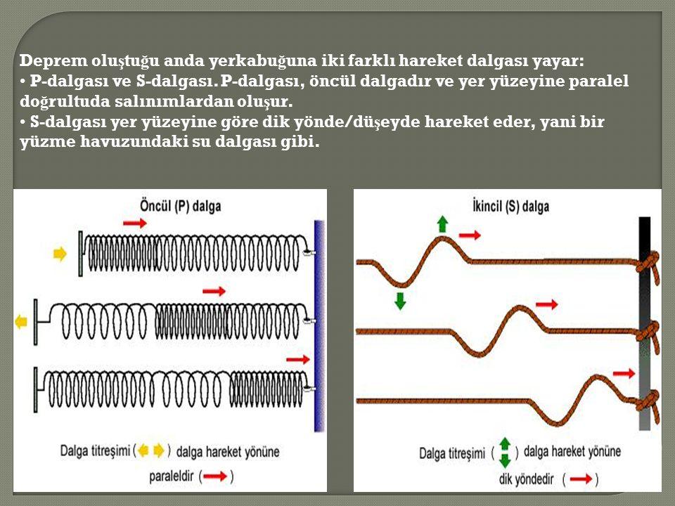 Deprem olu ş tu ğ u anda yerkabu ğ una iki farklı hareket dalgası yayar: P-dalgası ve S-dalgası.