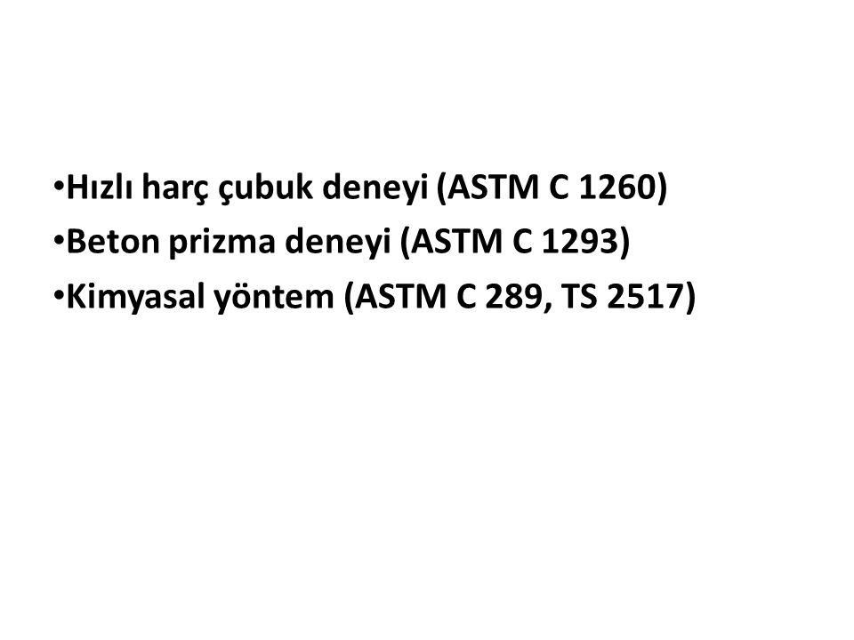 Hızlı harç çubuk deneyi (ASTM C 1260) Beton prizma deneyi (ASTM C 1293) Kimyasal yöntem (ASTM C 289, TS 2517)