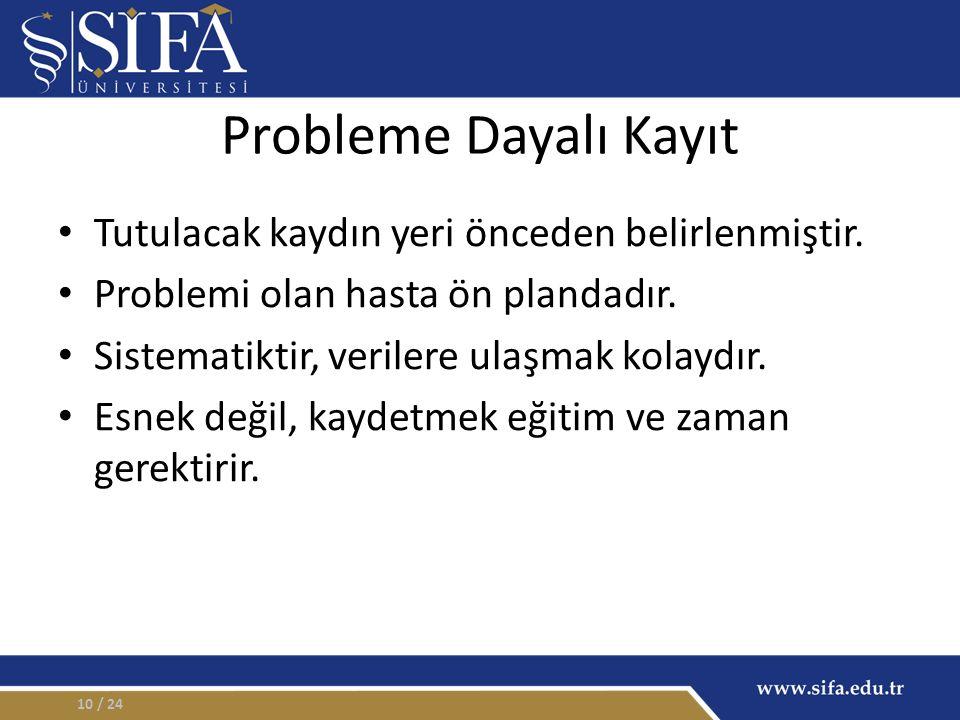 Probleme Dayalı Kayıt Tutulacak kaydın yeri önceden belirlenmiştir. Problemi olan hasta ön plandadır. Sistematiktir, verilere ulaşmak kolaydır. Esnek