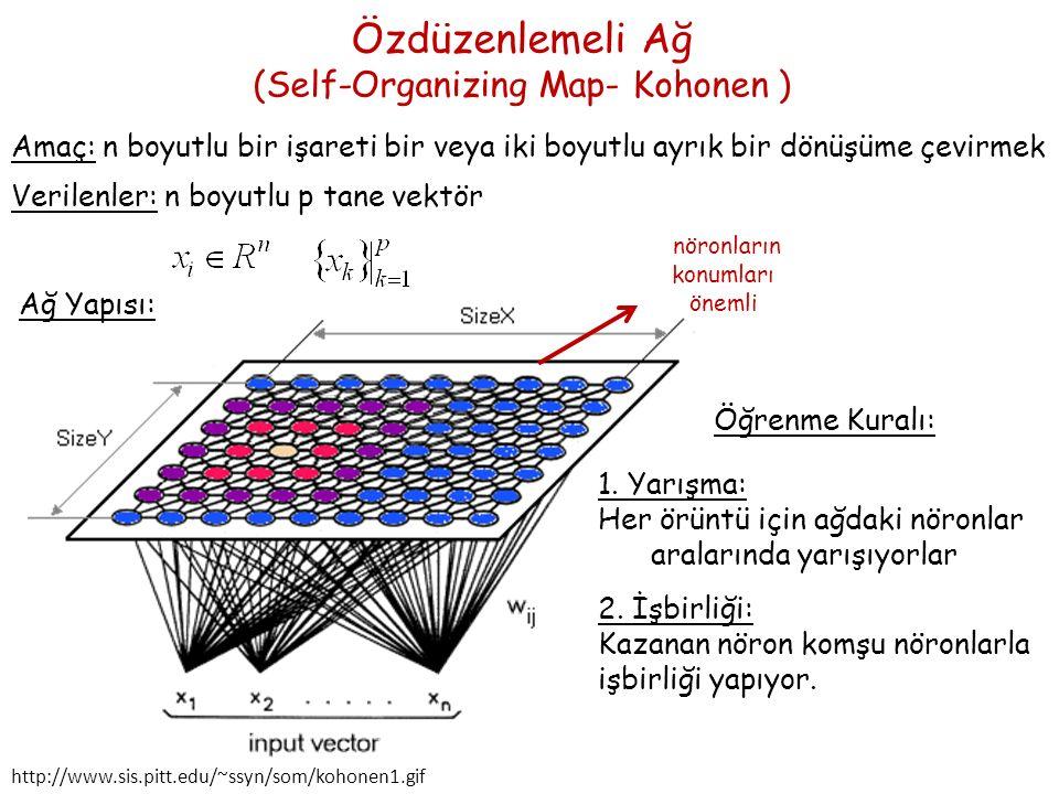 Özdüzenlemeli Ağ (Self-Organizing Map- Kohonen ) Amaç: n boyutlu bir işareti bir veya iki boyutlu ayrık bir dönüşüme çevirmek Verilenler: n boyutlu p