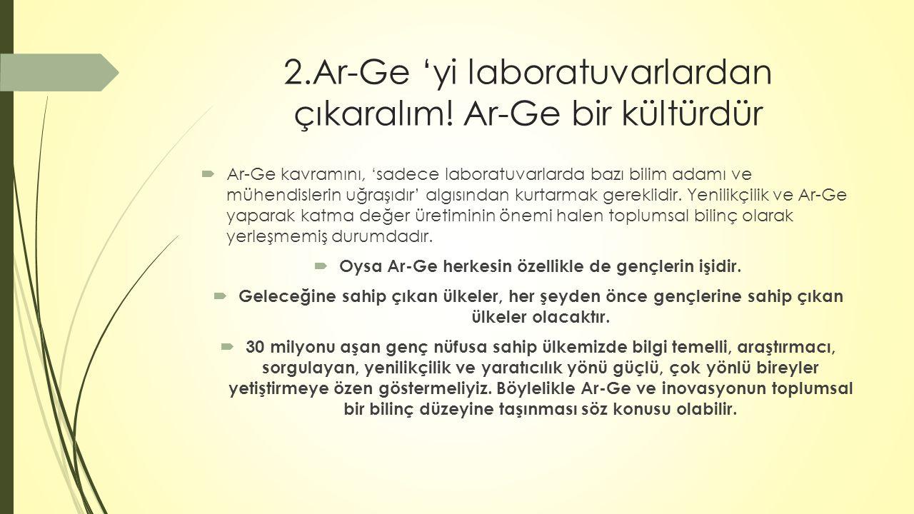 2.Ar-Ge 'yi laboratuvarlardan çıkaralım! Ar-Ge bir kültürdür  Ar-Ge kavramını, 'sadece laboratuvarlarda bazı bilim adamı ve mühendislerin uğraşıdır'
