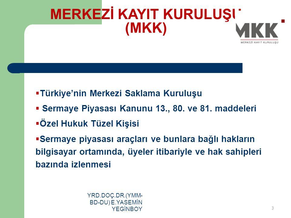 YRD.DOÇ.DR.(YMM- BD-DU) E.YASEMİN YEGİNBOY  Türkiye'nin Merkezi Saklama Kuruluşu  Sermaye Piyasası Kanunu 13., 80. ve 81. maddeleri  Özel Hukuk Tüz