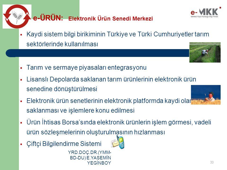 YRD.DOÇ.DR.(YMM- BD-DU) E.YASEMİN YEGİNBOY  Kaydi sistem bilgi birikiminin Türkiye ve Türki Cumhuriyetler tarım sektörlerinde kullanılması  Tarım ve sermaye piyasaları entegrasyonu  Lisanslı Depolarda saklanan tarım ürünlerinin elektronik ürün senedine dönüştürülmesi  Elektronik ürün senetlerinin elektronik platformda kaydi olarak saklanması ve işlemlere konu edilmesi  Ürün İhtisas Borsa'sında elektronik ürünlerin işlem görmesi, vadeli ürün sözleşmelerinin oluşturulmasının hızlanması  Çiftçi Bilgilendirme Sistemi 33 e-ÜRÜN: Elektronik Ürün Senedi Merkezi