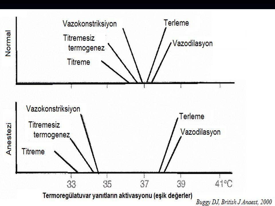 Perioperatif hipotermi gelişmesi Tüm hastalarda Anestezi yöntemi Cerrahi nedenler Ortam ısısına bağlı hipotermi gelişir Sessler DI, Anesthesiology 2000