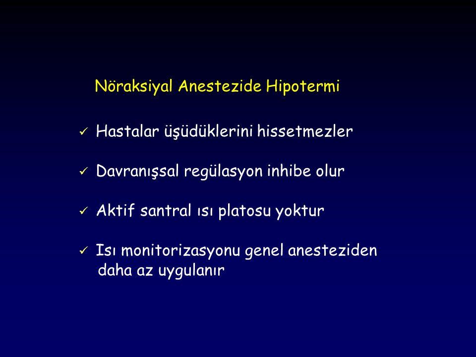Kombine Nöraksiyal ve Genel Anestezi Hipotermi gelişme riski en yüksek olan anestezi yöntemidir Hipotermiye katkıda bulunan faktörler: Vazokonstriksiyon daha düşük vücut sıcaklığında ve daha geç ortaya çıkar Isı üretimini artırabilecek olan titreme, genel anestezi altında inhibe olur Periferik bloklar bacaklardaki vazokonstriksiyonu önler