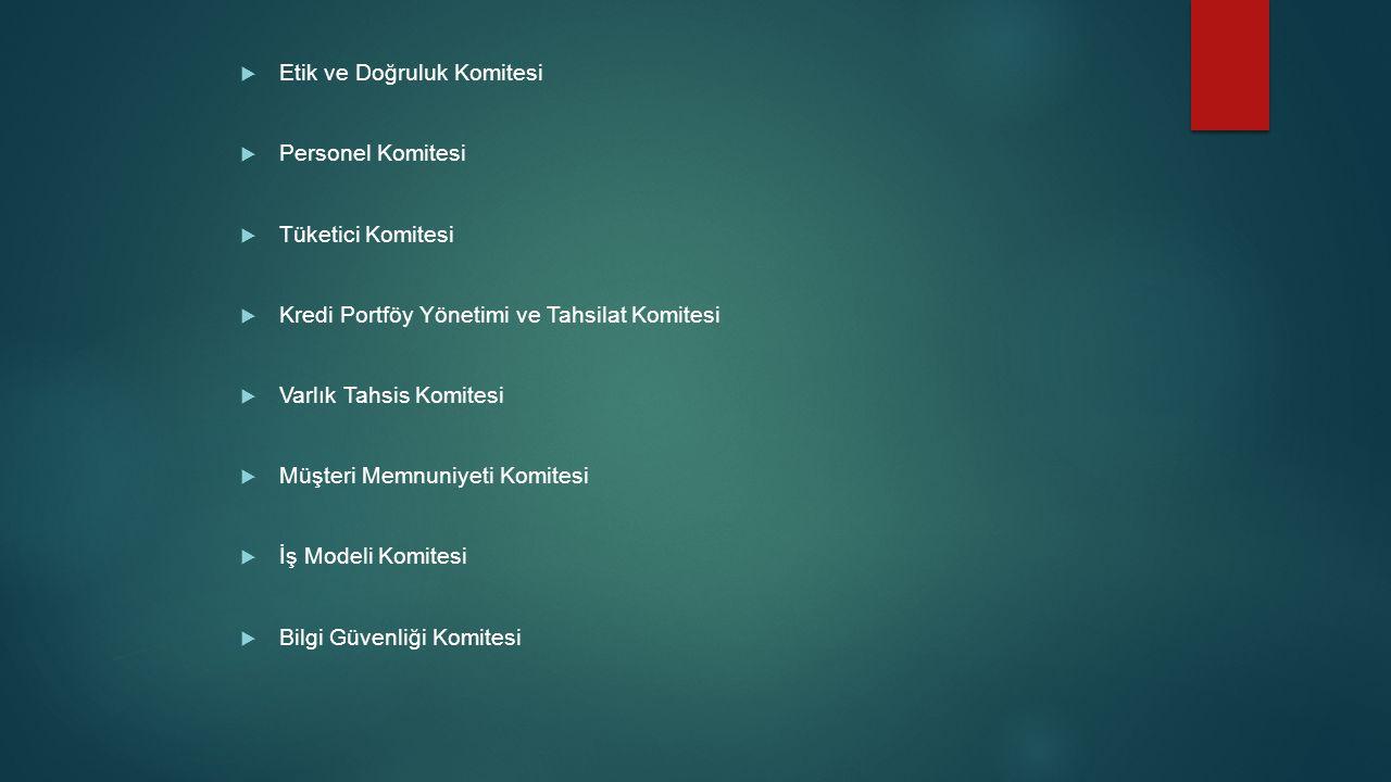  Etik ve Doğruluk Komitesi  Personel Komitesi  Tüketici Komitesi  Kredi Portföy Yönetimi ve Tahsilat Komitesi  Varlık Tahsis Komitesi  Müşteri M