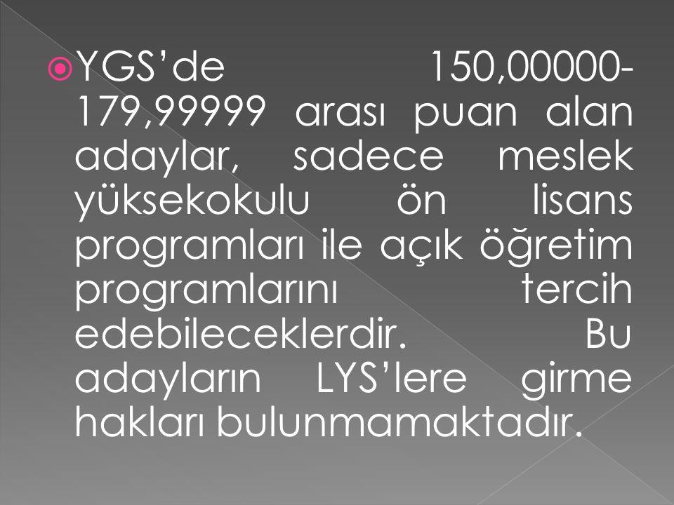  YGS'de 150,00000- 179,99999 arası puan alan adaylar, sadece meslek yüksekokulu ön lisans programları ile açık öğretim programlarını tercih edebileceklerdir.