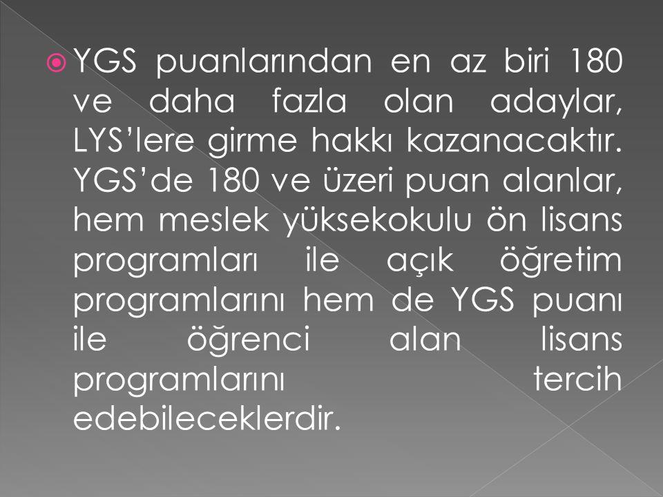 Özel yetenek sınavıyla öğrenci alan yükseköğretim programlarına başvurabilmek için de YGS puanlarından en az birinin 150 ve üzeri olması gerekir.