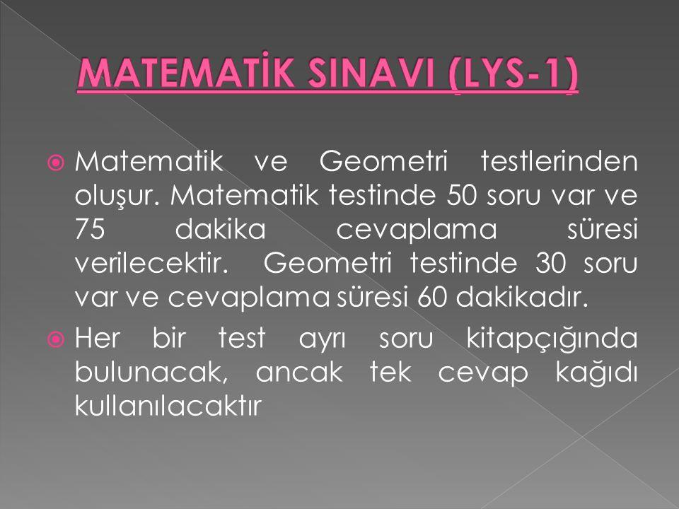 Matematik ve Geometri testlerinden oluşur.