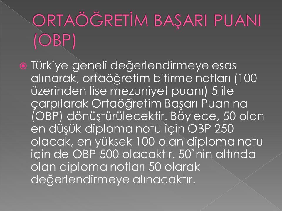  Türkiye geneli değerlendirmeye esas alınarak, ortaöğretim bitirme notları (100 üzerinden lise mezuniyet puanı) 5 ile çarpılarak Ortaöğretim Başarı Puanına (OBP) dönüştürülecektir.