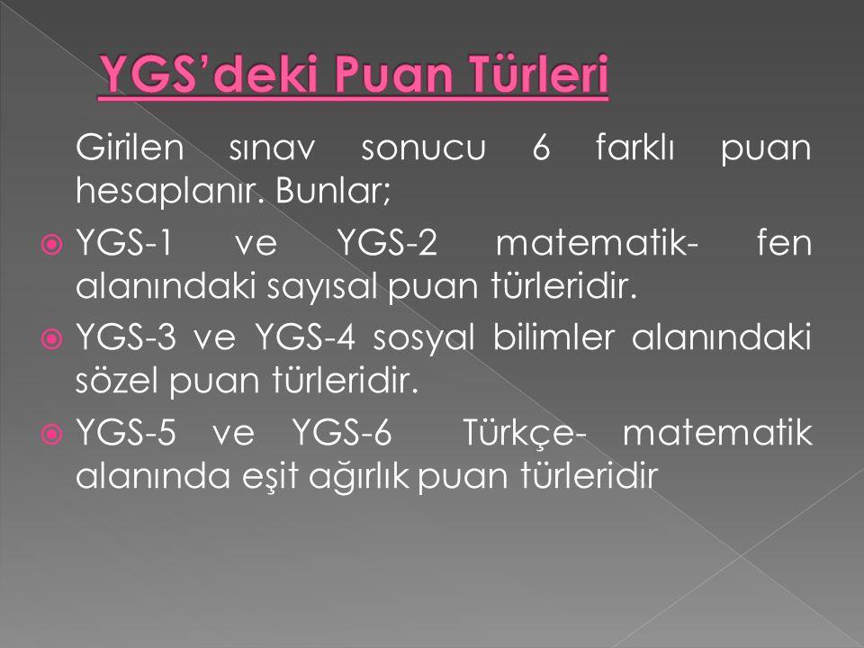Girilen sınav sonucu 6 farklı puan hesaplanır. Bunlar;  YGS-1 ve YGS-2 matematik- fen alanındaki sayısal puan türleridir.  YGS-3 ve YGS-4 sosyal bil