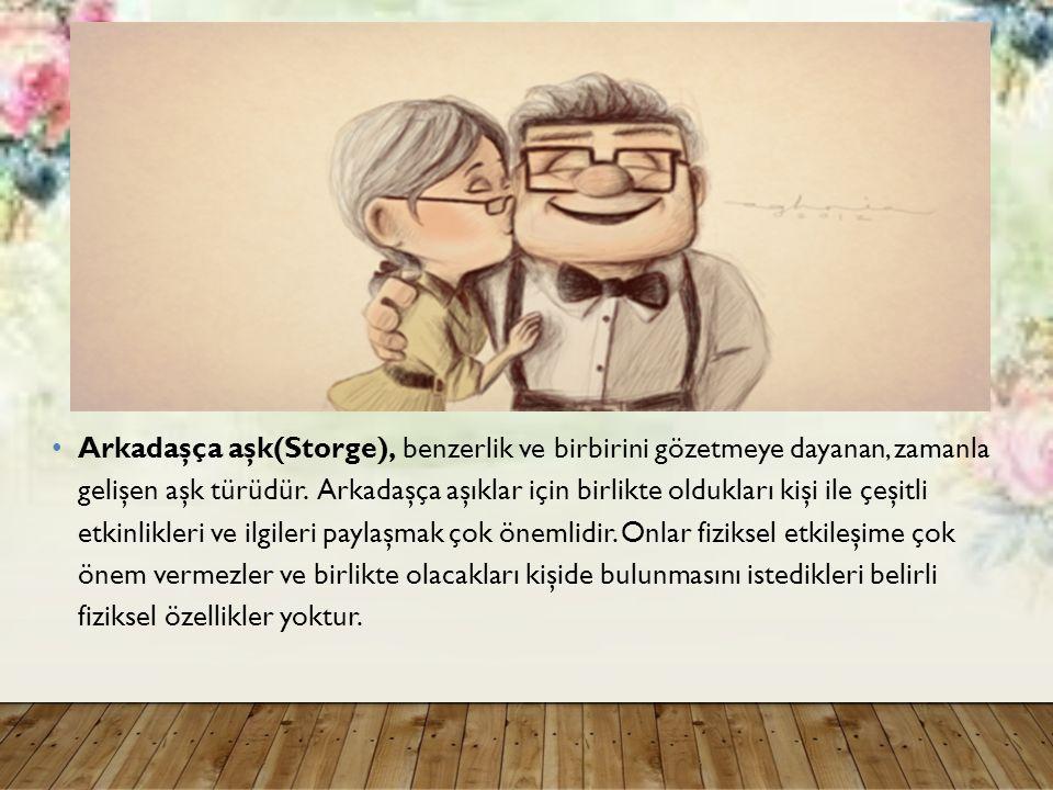 Arkadaşça aşk(Storge), benzerlik ve birbirini gözetmeye dayanan, zamanla gelişen aşk türüdür.