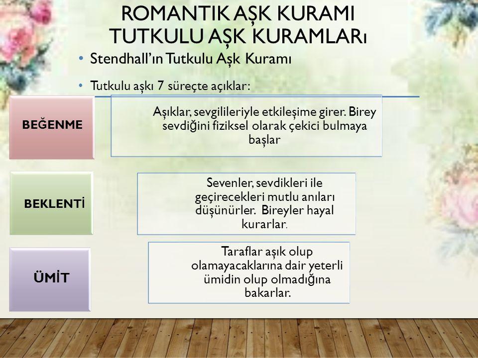 ROMANTIK AŞK KURAMI TUTKULU AŞK KURAMLARı Stendhall'ın Tutkulu Aşk Kuramı Tutkulu aşkı 7 süreçte açıklar: Aşıklar, sevgilileriyle etkileşime girer.