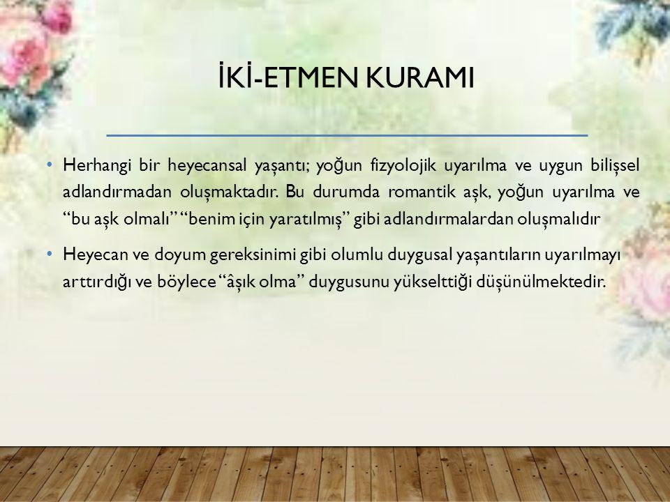 İ K İ -ETMEN KURAMI Herhangi bir heyecansal yaşantı; yo ğ un fizyolojik uyarılma ve uygun bilişsel adlandırmadan oluşmaktadır.