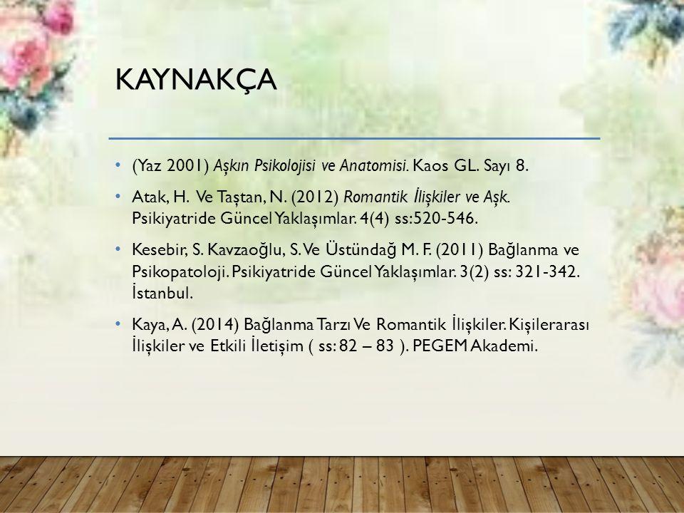 KAYNAKÇA (Yaz 2001) Aşkın Psikolojisi ve Anatomisi.