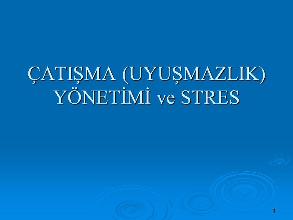 42 STRESS  Çatışma etkili yönetilemediğinde ortaya çıkan ise öfke ve strestir.