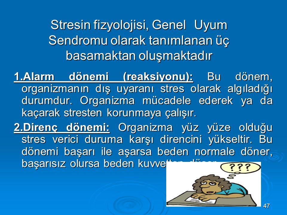 47 1.Alarm dönemi (reaksiyonu): Bu dönem, organizmanın dış uyaranı stres olarak algıladığı durumdur.