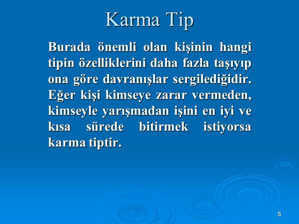 5 Karma Tip Burada önemli olan kişinin hangi tipin özelliklerini daha fazla taşıyıp ona göre davranışlar sergilediğidir.