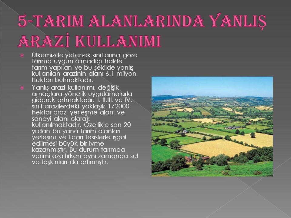 Ülkemizde yetenek sınıflarına göre tarıma uygun olmadığı halde tarım yapılan ve bu şekilde yanlış kullanılan arazinin alanı 6.1 milyon hektarı bulma