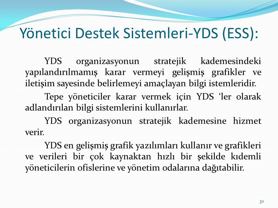 Yönetici Destek Sistemleri-YDS (ESS): YDS organizasyonun stratejik kademesindeki yapılandırılmamış karar vermeyi gelişmiş grafikler ve iletişim sayesinde belirlemeyi amaçlayan bilgi istemleridir.