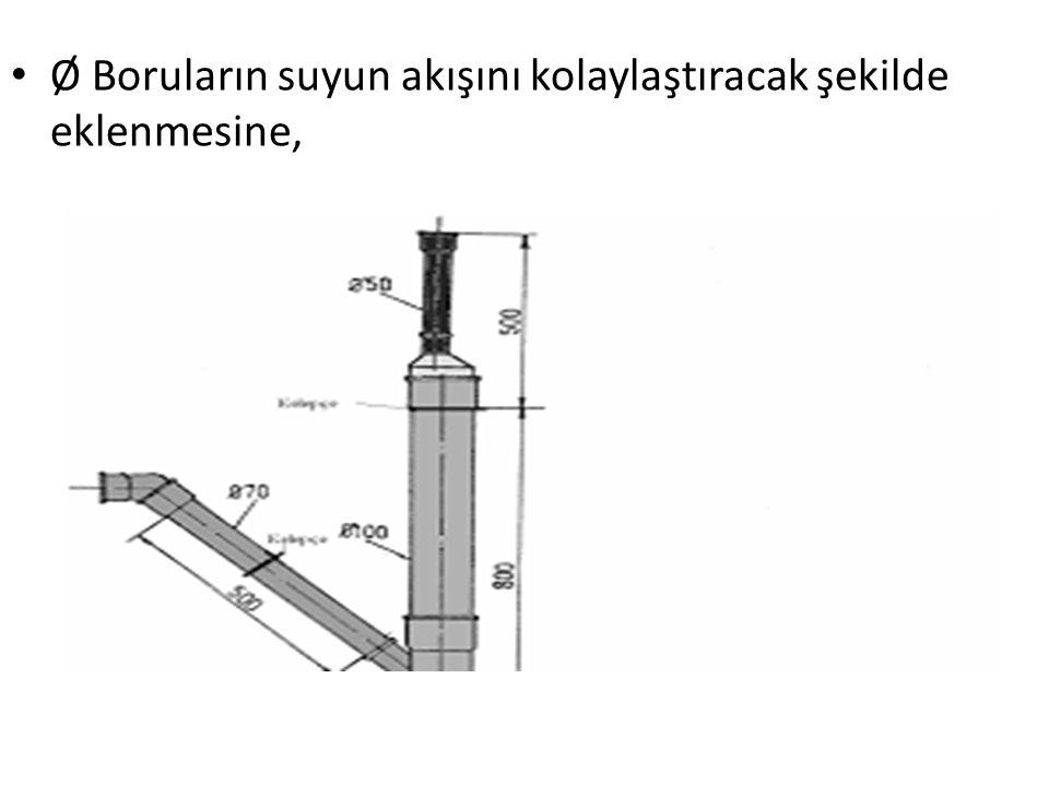 Ø Boruların suyun akışını kolaylaştıracak şekilde eklenmesine,