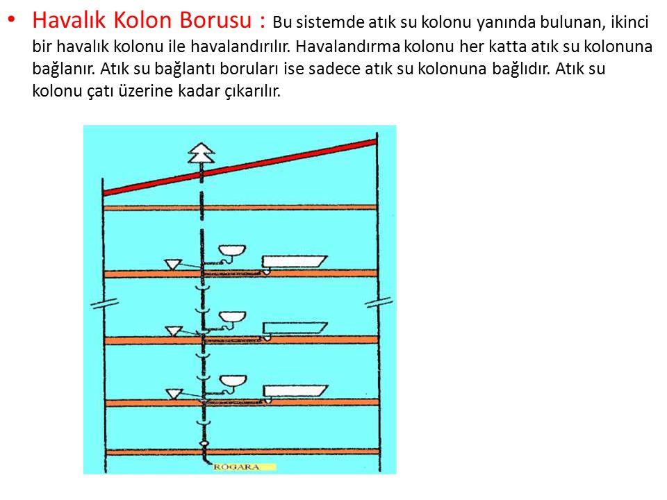 Havalık Kolon Borusu : Bu sistemde atık su kolonu yanında bulunan, ikinci bir havalık kolonu ile havalandırılır. Havalandırma kolonu her katta atık su