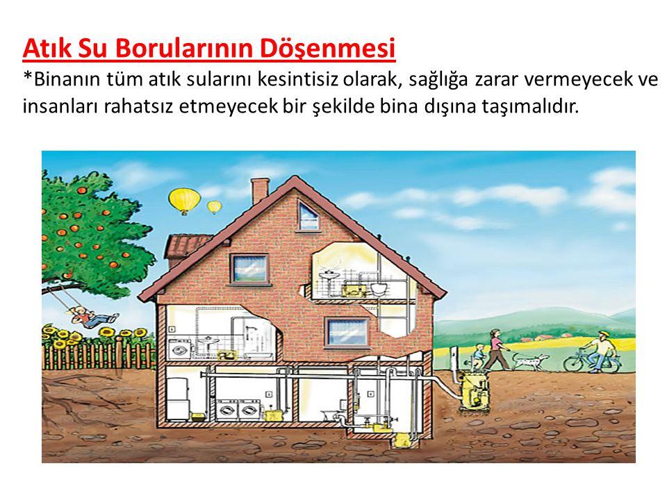 Atık Su Borularının Döşenmesi *Binanın tüm atık sularını kesintisiz olarak, sağlığa zarar vermeyecek ve insanları rahatsız etmeyecek bir şekilde bina