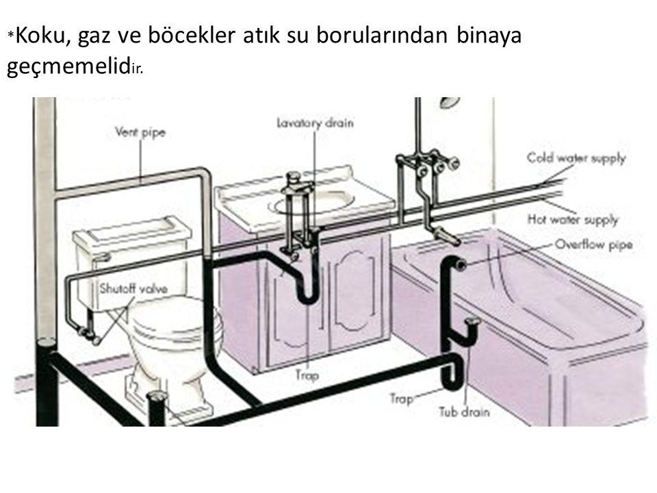 * Koku, gaz ve böcekler atık su borularından binaya geçmemelid ir.