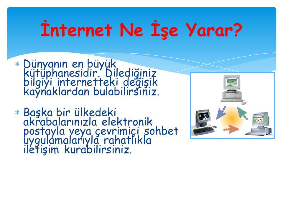 İNTERNETİN KULLANIM ALANLARI  İnternetin, öğrencilerin eğitiminde büyük yararları olduğu gerçektir.