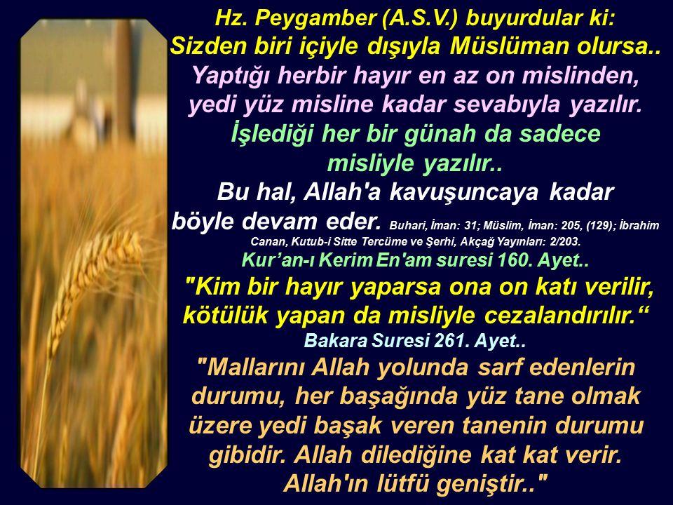 Hz. Peygamber (A.S.V.) buyurdular ki: Sizden biri içiyle dışıyla Müslüman olursa..