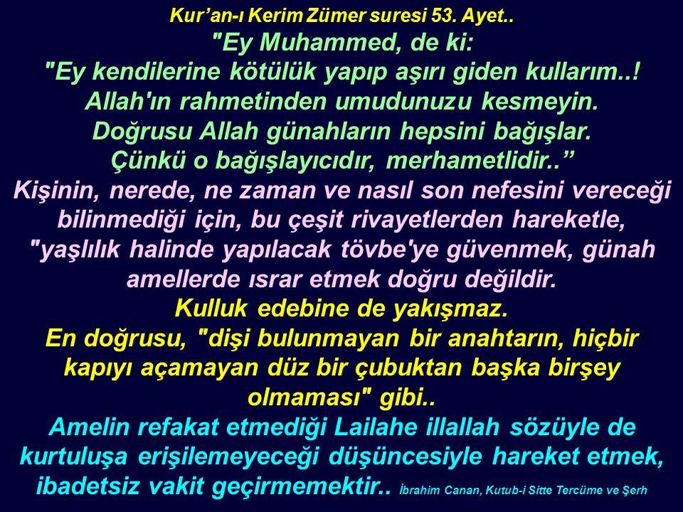 Kur'an-ı Kerim Zümer suresi 53. Ayet..