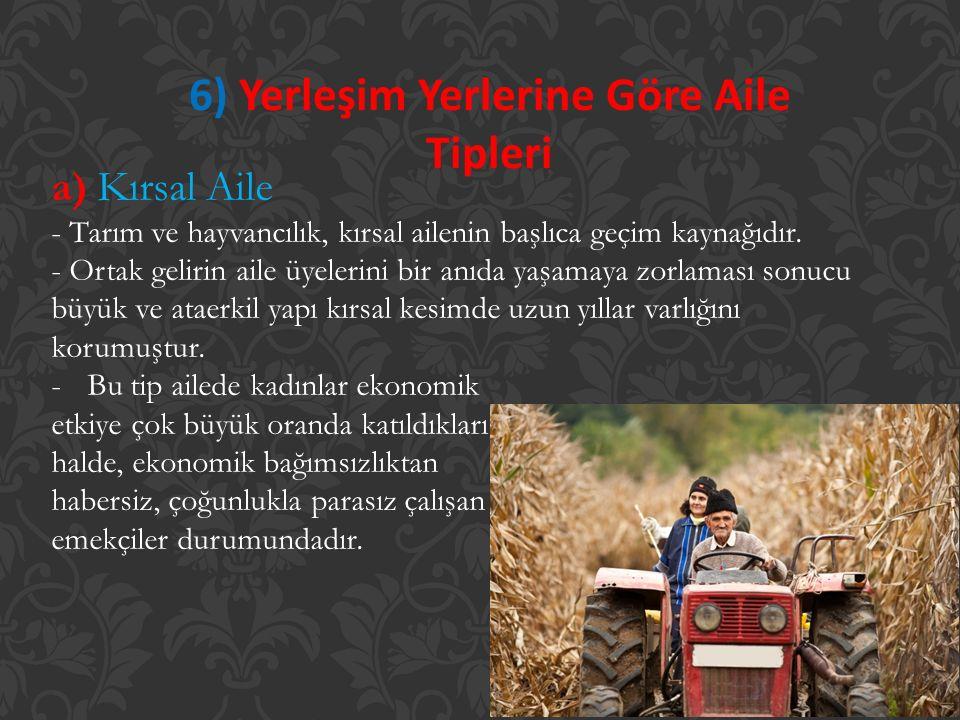 6) Yerleşim Yerlerine Göre Aile Tipleri a) Kırsal Aile - Tarım ve hayvancılık, kırsal ailenin başlıca geçim kaynağıdır. - Ortak gelirin aile üyelerini