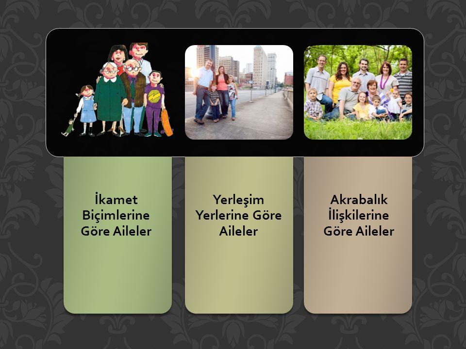 İkamet Biçimlerine Göre Aileler Yerleşim Yerlerine Göre Aileler Akrabalık İlişkilerine Göre Aileler
