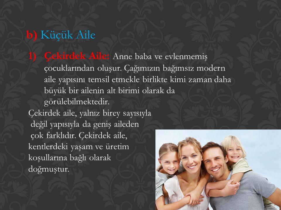 b) Küçük Aile 1)Çekirdek Aile: Anne baba ve evlenmemiş çocuklarından oluşur. Çağımızın bağımsız modern aile yapısını temsil etmekle birlikte kimi zama