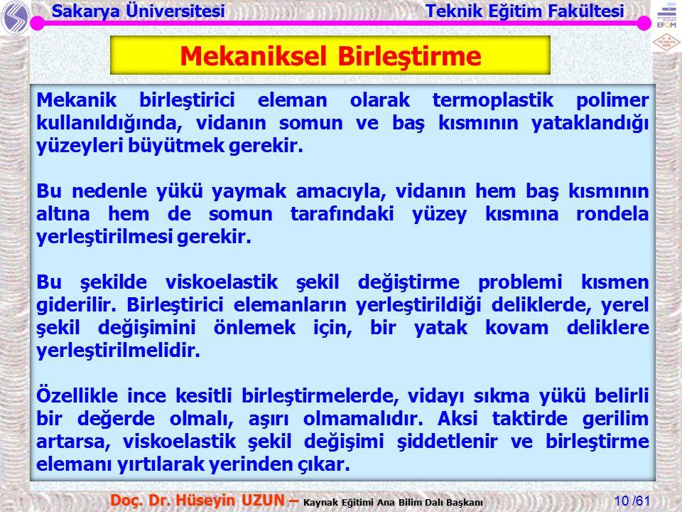 Sakarya Üniversitesi Teknik Eğitim Fakültesi /61 Doç. Dr. Hüseyin UZUN – Kaynak Eğitimi Ana Bilim Dalı Başkanı 10 Mekanik birleştirici eleman olarak t