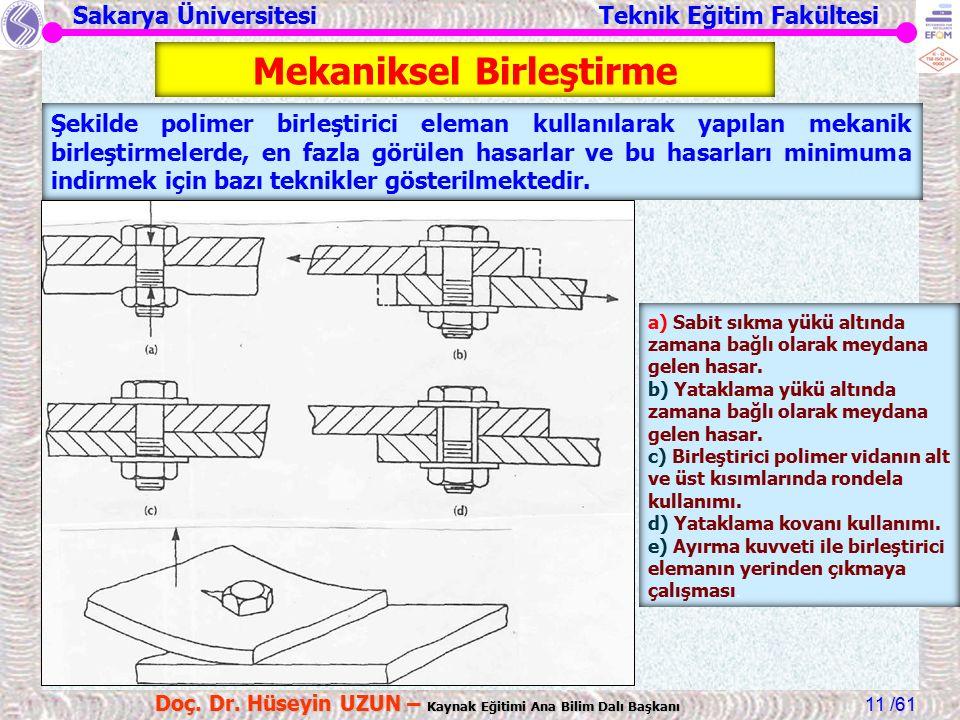 Sakarya Üniversitesi Teknik Eğitim Fakültesi /61 Doç. Dr. Hüseyin UZUN – Kaynak Eğitimi Ana Bilim Dalı Başkanı 11 Şekilde polimer birleştirici eleman