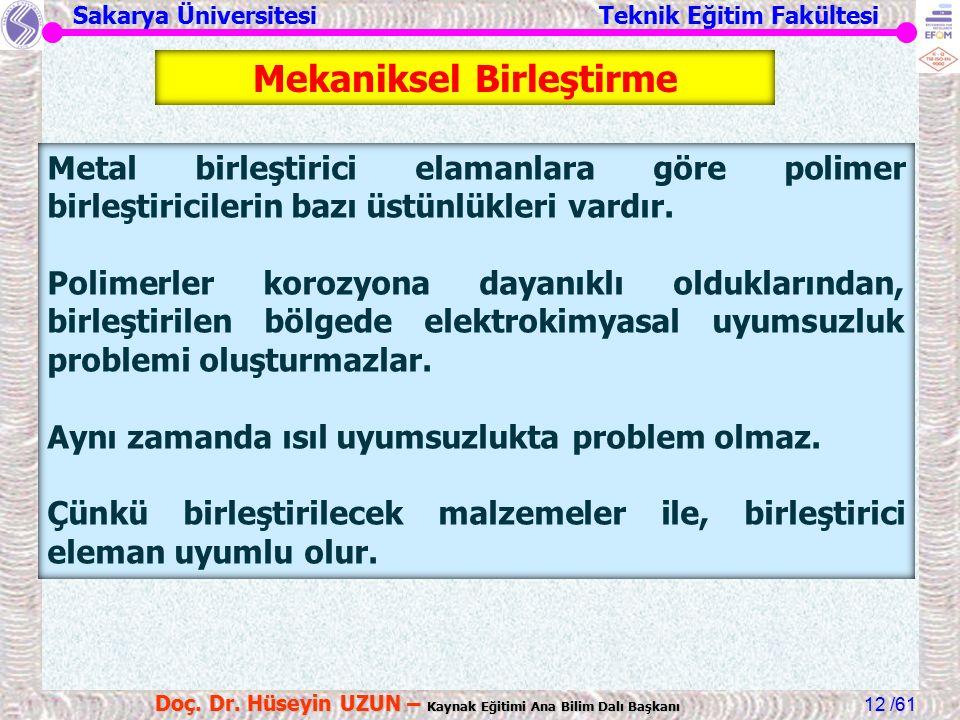Sakarya Üniversitesi Teknik Eğitim Fakültesi /61 Doç. Dr. Hüseyin UZUN – Kaynak Eğitimi Ana Bilim Dalı Başkanı 12 Metal birleştirici elamanlara göre p
